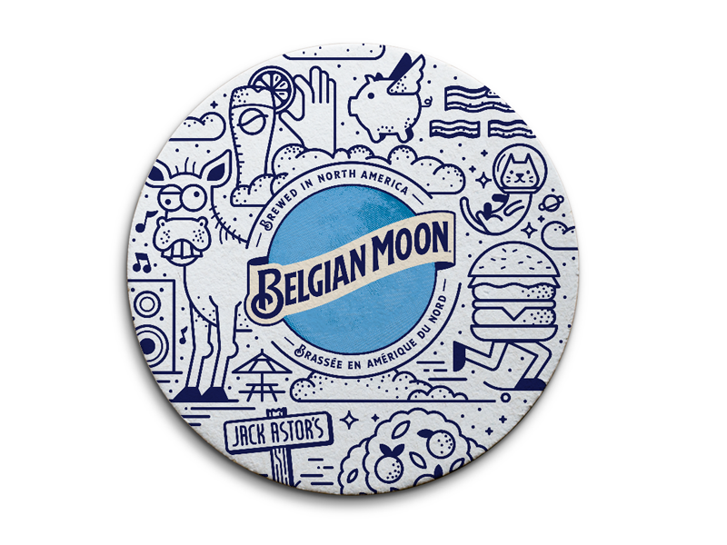 Belgian Moon Patio Pints! oranges space cat donkey coasters moon belgian blue