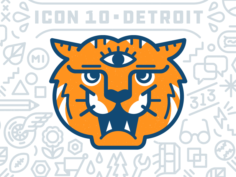 ICON10 / Detroit orange conference bolt 313 eye detroit tiger