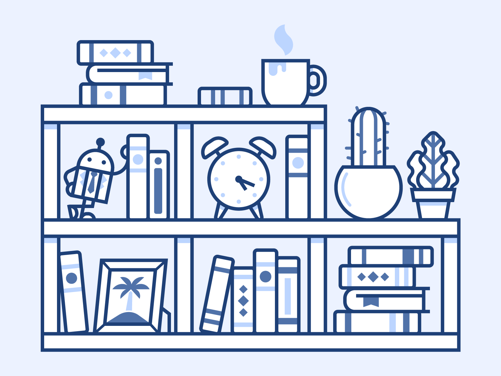 Resources 📚 picture coffee clock icons blue books