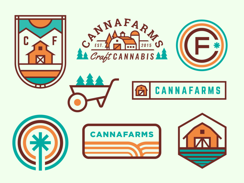 Cannafarms Logo Exploration logo monogram barn weed orange green farm cannabis canna