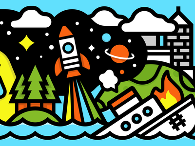 October Saturday city turtle ship wreck trees rocket illustration vector blue kevinmoran