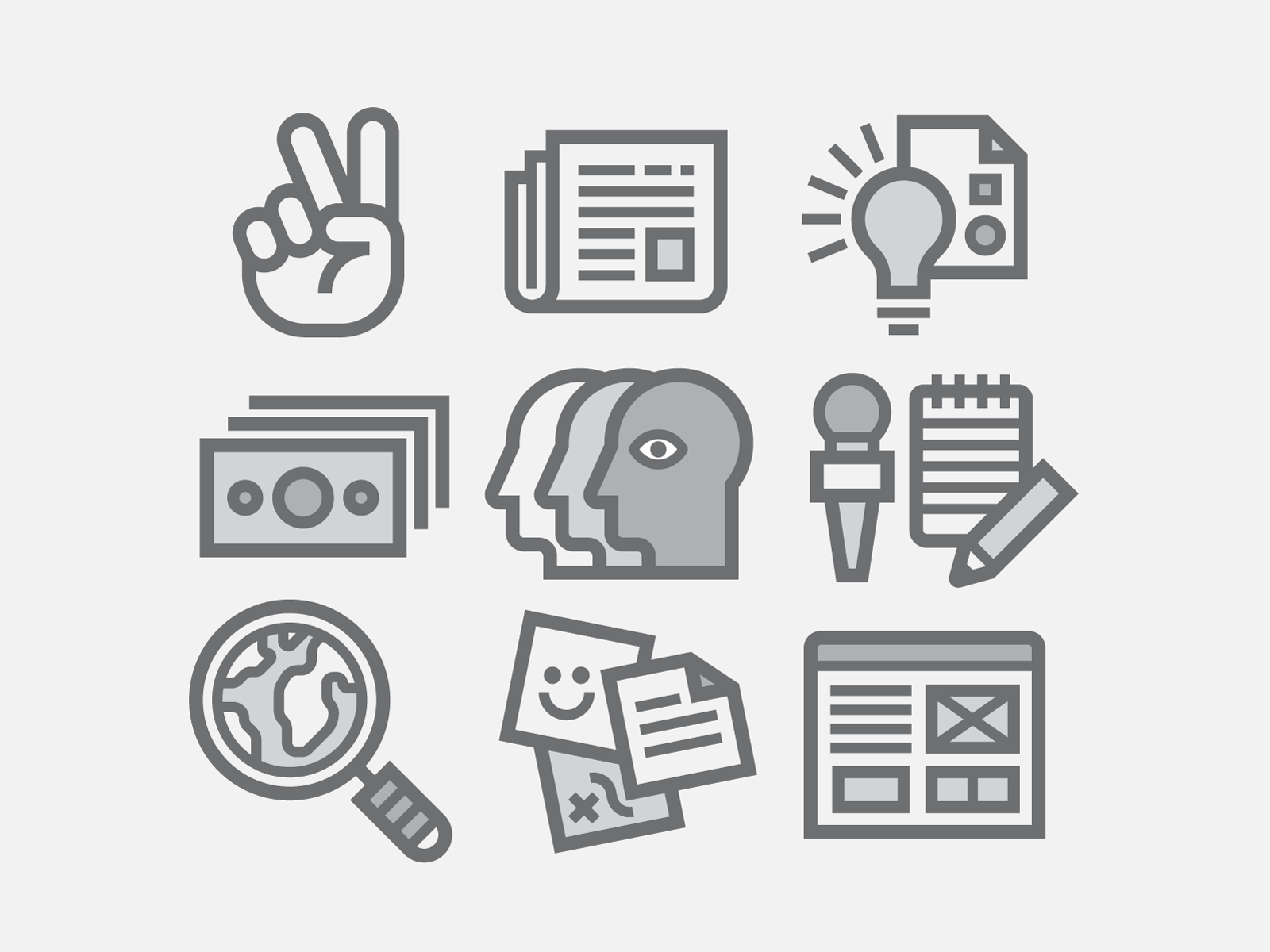 Icons, Icons, Icons!!! mic bulb people money world wire peace hand newspaper grey icons