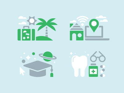 Benefit Icons green wfh home pills graduate kevinmoran blue tooth laptop icons