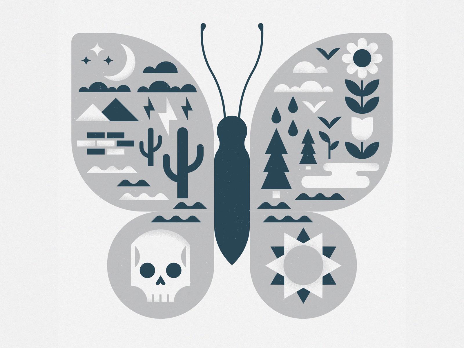 🦋 trees skull navy grey kevinmoran moth butterfly