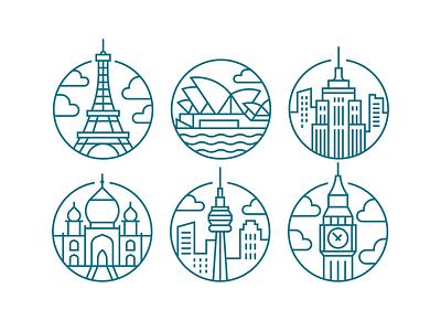 Places vector blue ben new york england canada toronto paris france london icons