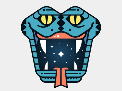 Snakebite tongue bite stars space teeth blue mouth snake