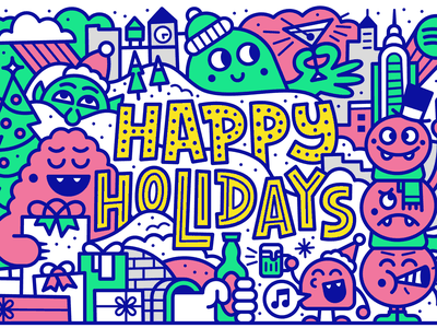 Happy Holidays beer city drinks monsters winter holiday christmas