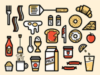 Breakfast icons large