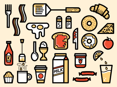 Breakfast Icons bagel eggs knife bacon jam muffin tea toast red apple spatula cutlery icons