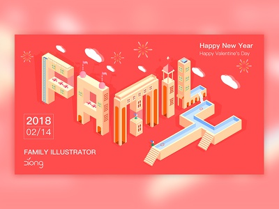 Family red happy-new-year family fontdesign
