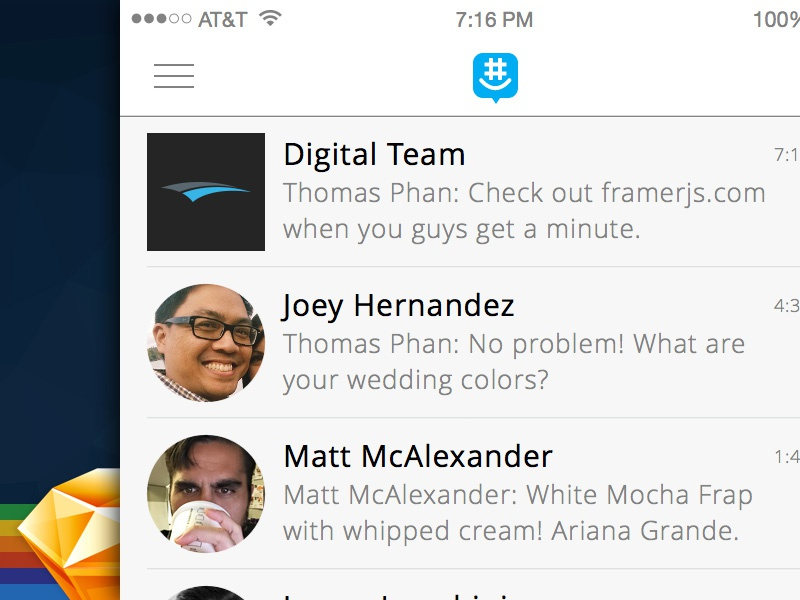Sketching sketch framer groupme ui ux avatars chat messages ios ariana grande starbucks