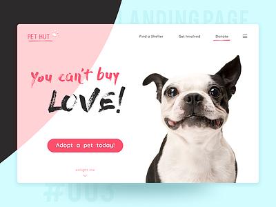 Landing Page non profit ngo donate adopt 003 dogs adoption pet landing page dailyui