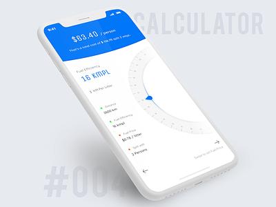 Calculator expense travel gauge circular mobile ui mobile uidesign distance fuel trip dailyui calculator
