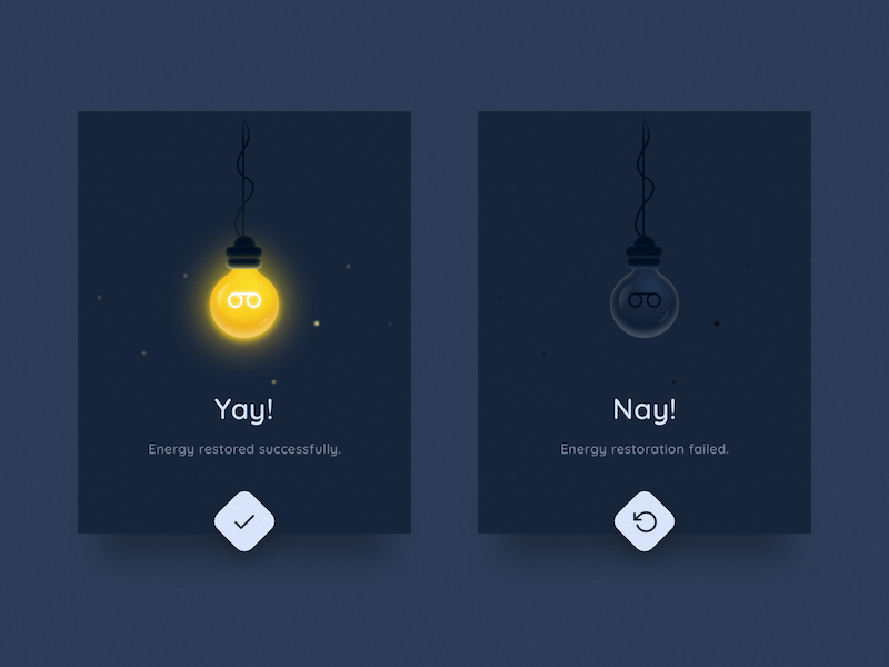 Flash Message (Success/Error) dailyui alert light bulb electricity energy retry ui ux card popup dark
