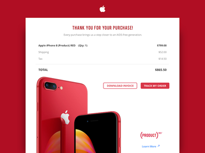 Email Receipt shopping buy purchase order track iphone emailer iphone8 red apple invoice dailyui
