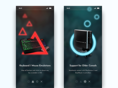 Onboarding darkui neon intro features guide getting started playstation gaming game ps4 ps3 dailyui