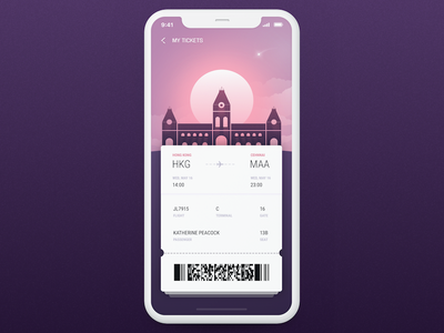 Boarding Pass mobileui booking modern urban airline travel chennai city ticket flight boarding pass dailyui
