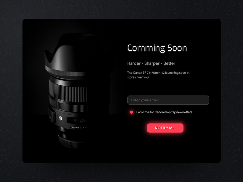 Subscribe product notify sale lens canon red ui dark soon coming subscribe dailyui