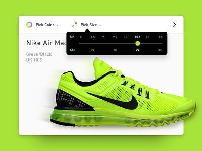 Dropdown bright neon buy running shoe black green slider popup form nike dailyui