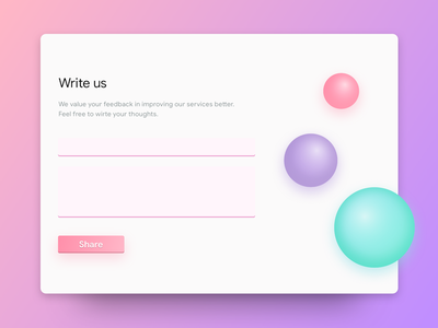 Contact Us ux feedback share ui clean bubble colourful write form contact dailyui
