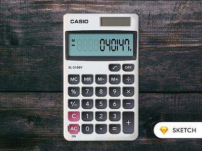Calculator (Casio SL-310SV) real-world concept graphic calculate display numbers replica realistic skeuomorphic calculator casio
