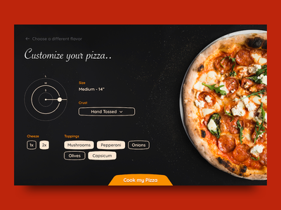 Customize Product dailyui pizza food selector checkout product dark slider cheese dropdown ui picker