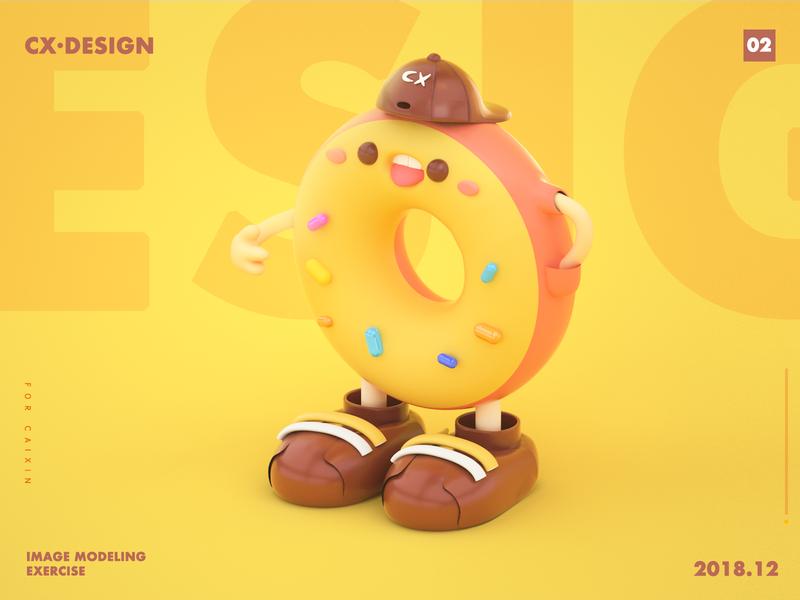 形象建模练习-甜甜圈-01 鞋 甜甜圈 design c4d