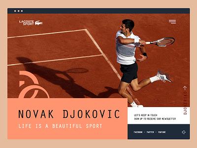 Novak Djokovic for Lacoste sport ui player card commercial court roland garros design nole lacoste player tennis novak djokovic