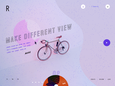 Ragaca parallax slider ux ui player noise music mouseover landing page effects disc bicycle
