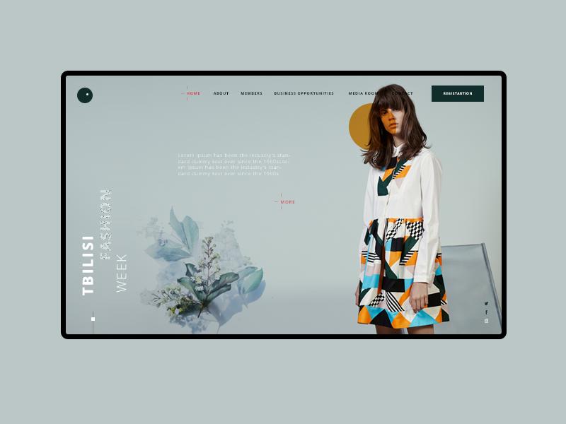 Fashion week interface slider web landing page fashion week multiple flower ui ux color girl fashion