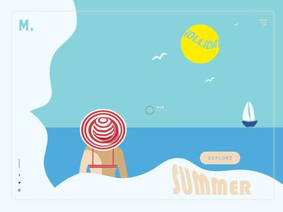 travel explore girl sea illustaration vector vacation summer turism landing page ui ux travel