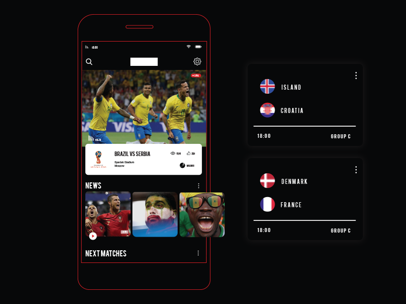FIFA world cup 2018 TV and News App by Nana Zhvania on Dribbble
