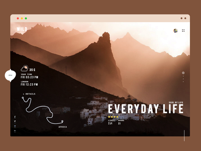 Wild Nature Travel  userinterface mountains location map national geographic app webdesign ux ui minimal sun rise travel weather