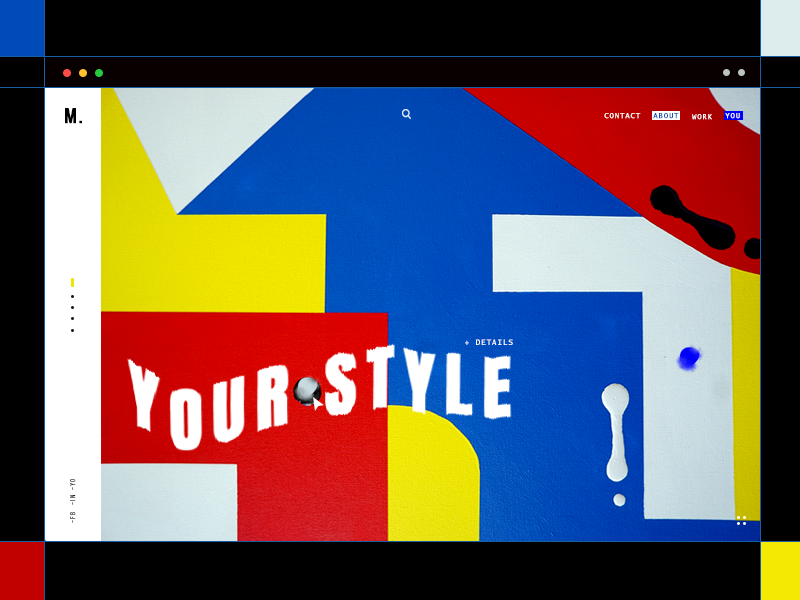 Mondrian Shh typography graphics mondrian work page portfolio minimal color shapes grid lines ux ui