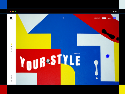 Mondrian Shh typography graphics mondrian work page portfolio minimal color shapes grid lines ux ui