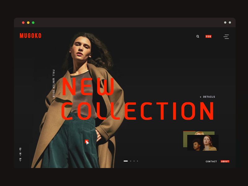 online store UI fashion layout effects typography slider black cart landing page minimal online store ux ui