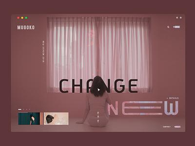 Mugoko design - think different slider typography ui layout web design landing page movie film season ux pink minimal