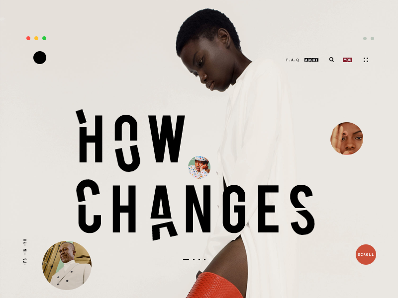 Changes UI mouseover fashion portfolio typography bubles minimal landing web design design ux ui text effects