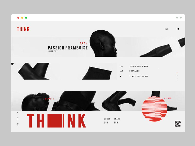 think typography page landing appinterface disc music lines minimal design ui ux think