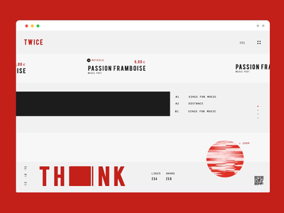 Think Twice graphics lines typography web design ui ux minimal red design