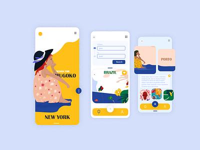 Travel App UI web design filter menu graphics mobile summer relax turism app design minimal vector vacation search trip travel app interface illustration ux ui
