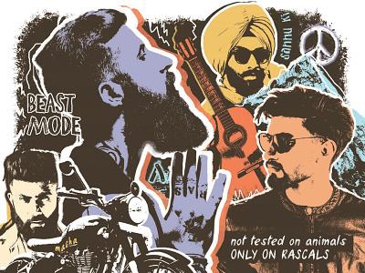 Ustraa Brand Persona ustraa movember guitar peace india biker moustache beard grooming collage photoshop publication design editorial design