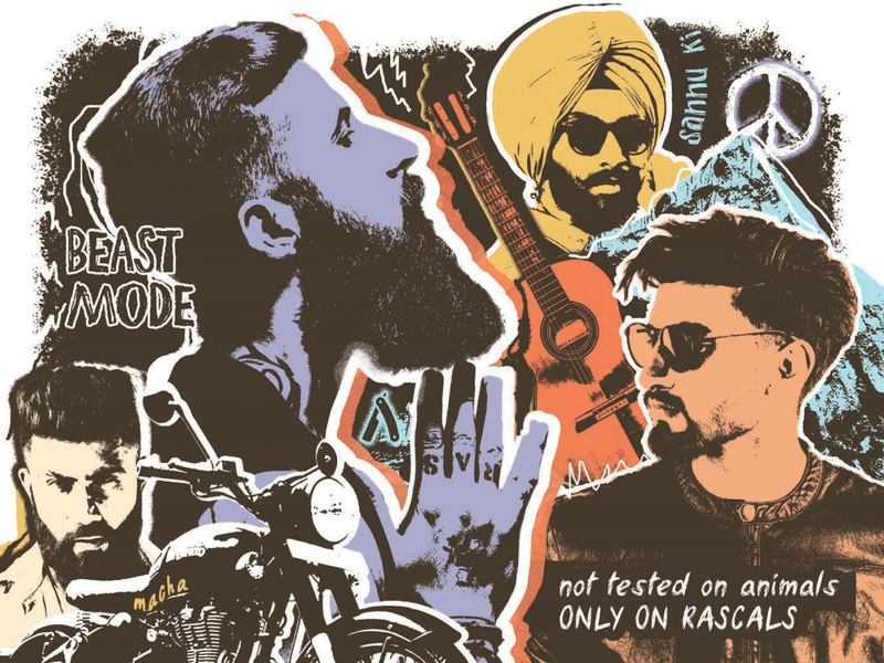 Ustraa Brand Persona ustraa movember guitar peace india biker moustache beard grooming collage photoshop publication design editorial design