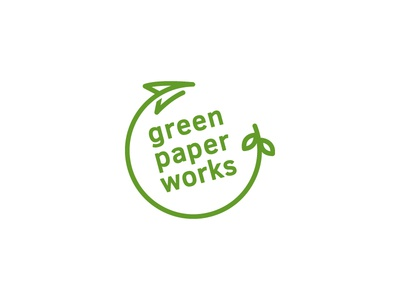 Green Paper Works logo recycle eco friendly india logo design sustainable paper green logo