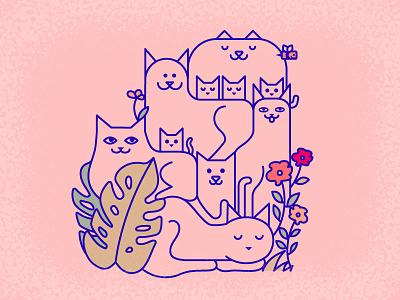 Cat Sanctuary india goa flowers cute kittens kitten cats illustration cat
