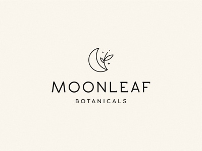Moonleaf brand identity stars conscious herbal beauty natural sustainable skincare organic botanical plants leaf moon cosmetics haircare branding logotype clean design logo