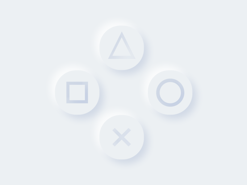 Neumorphism Playstation controller 3d clay soft minimal dailyui ui buttons gaming xbox