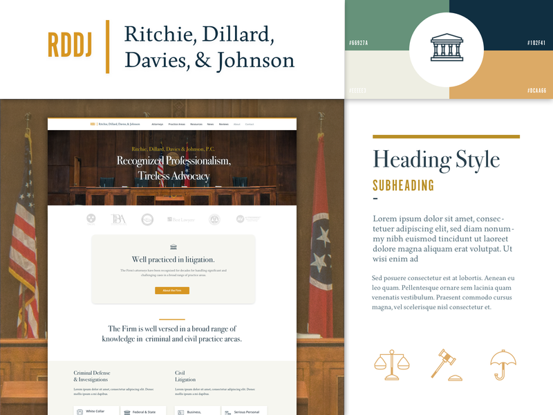 RDDJ Law Branding, Website and Style Components logo practice civil tennessee government umbrella scales gavel united states stylesheet iconography components styleguide branding website lawyer attorney law