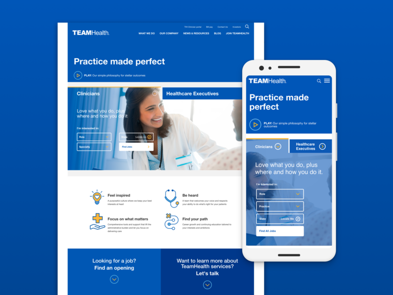 TeamHealth UX Updates interaction clinical clinician medical mobile website responsive ui ux