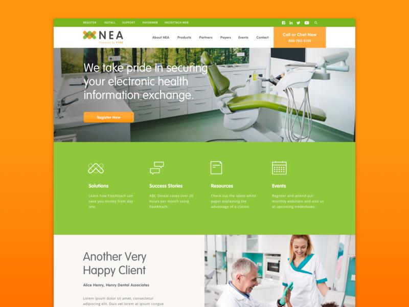 Vyne NEA Website family of websites dentist dental data health security medical website